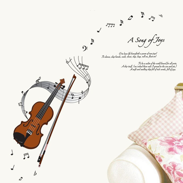 Yoga Music Guitar Violin Wall Stickers Wallpaper Music Treble Clef