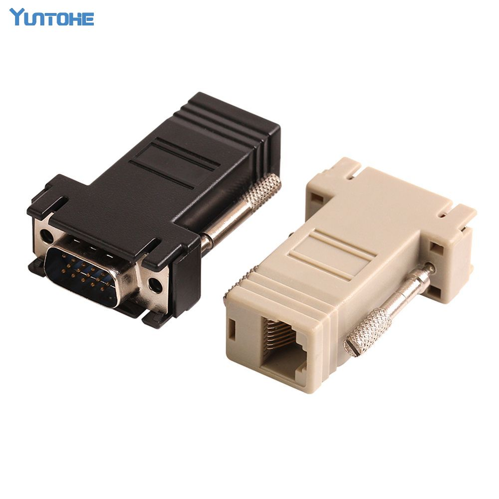 ZJT40 15PIN VGA to RJ45 connector New VGA Extender Male To Lan Cat5 Cat5e RJ45 Ethernet