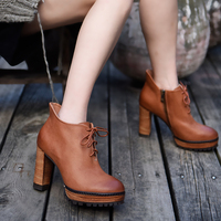 Artmu Original Fall Boots New European and American Retro Thick Heels High Heels Ankle Boots Leather Platform Women Boots 7182 5