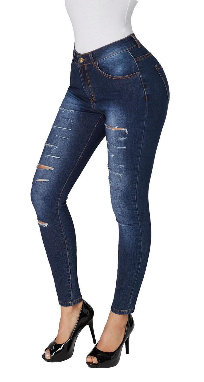 Blue-Faded-Denim-Wash-Leg-Ripped-Skinny-Jeans-LC786018-5-3