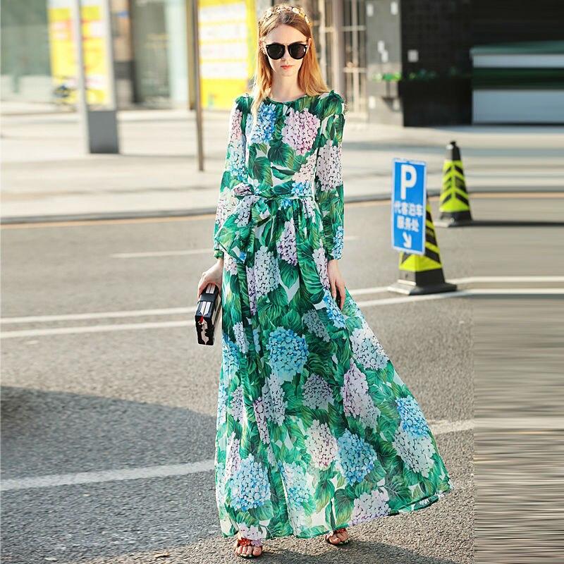 고품질 활주로 2018 여름 새로운 여성의 긴팔 대형 보헤미안 해변 휴가 해변 인쇄 쉬폰 드레스-에서드레스부터 여성 의류 의  그룹 1