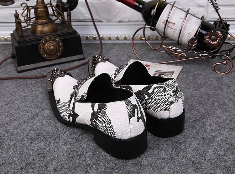 12 White Calzado Ponited Boda Zapatos Aumentó Altura Puntera Ntparker Rock Us6 Hombre Metálica Personalidad Partido Vestido UBWpZaqHa6