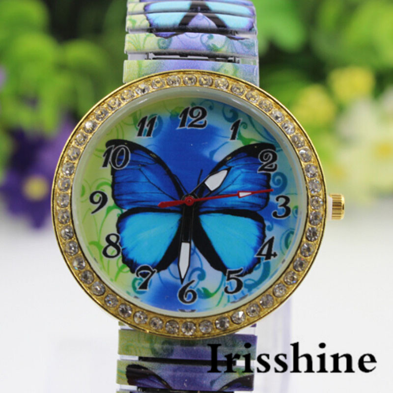 Irisshine I0691 Women Watches New Lady Fashion Women Blue Butterfly Pattern Casual Quartz Watch Stretch Watch Gift