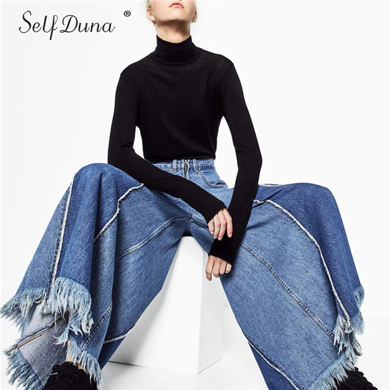 Self Duna 2018 Vintage High Waist   Jeans   Wide Leg Pants Palazzo Pants Loose Casual Blue Female Denim Pants Women Trousers
