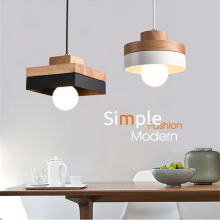 Nordic Simplicity led Pendant Lights bar bedroom clothing shop cafe geometric art solid wood square round Iron lamp