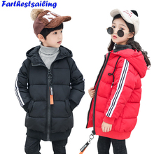 Children Winter Overcoats Boys Girls Thick Cotton Jackets Warm Snowsuit Kids Lovely Hooded Coats Parka For