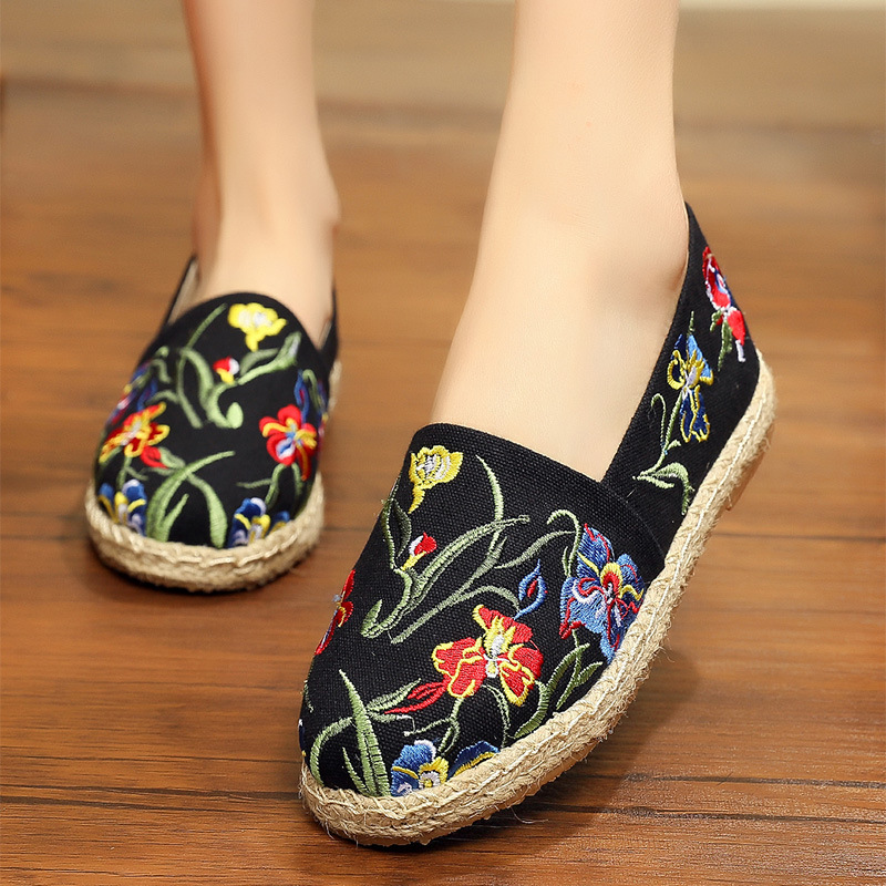 Image 3 - women's espadrille Embroider shoes Comfortable slippers Ladies Womens Casual Shoes Breathable Flax Hemp Canvas Blue Flamingo-in Women's Flats from Shoes