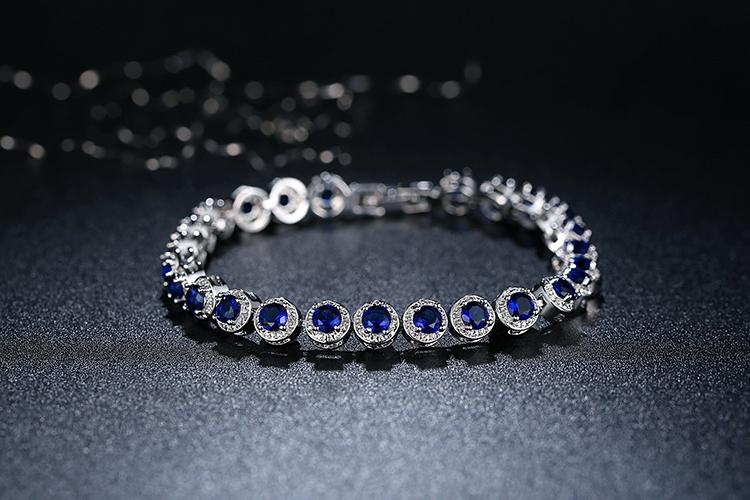 Gold Plated Bracelet with Cubic Zirconia in blue