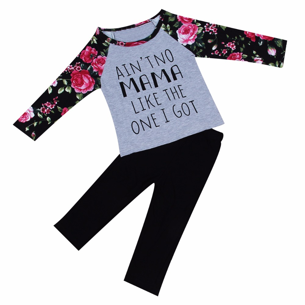 Toddler Kid Baby Girl Clothes Set 3 pcs Infant suit Autumn letter print floral tops t shirt pants set headband Outfits Clothes