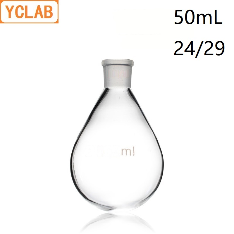 YCLAB 50mL 24/29 Flask Eggplant Shape Borosicate 3.3 Glass Distilling Round Bottom