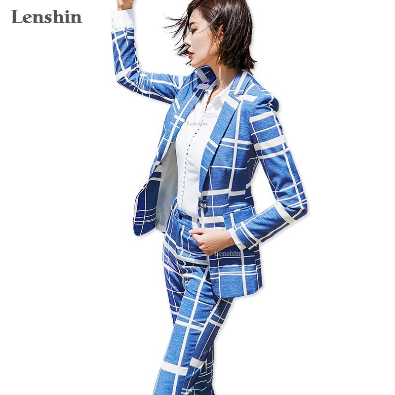 Lenshin 2 Pieces Set Geometric Pattern Blue Plaid Pant Suit Office Lady Uniform Designs For Women Business Suits Work Wear