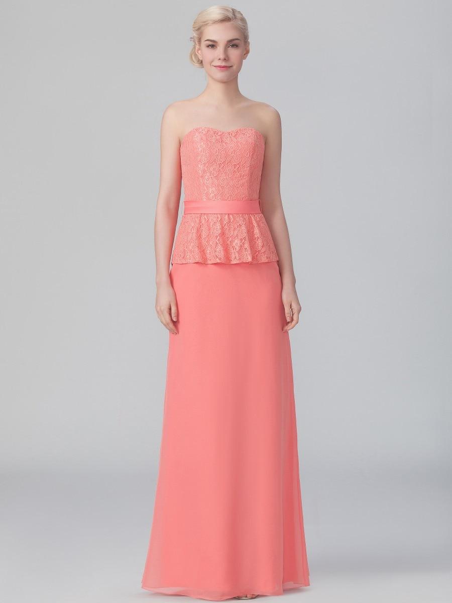 Dama De honor sin tirantes De encaje De gasa largo color Coral dama ...