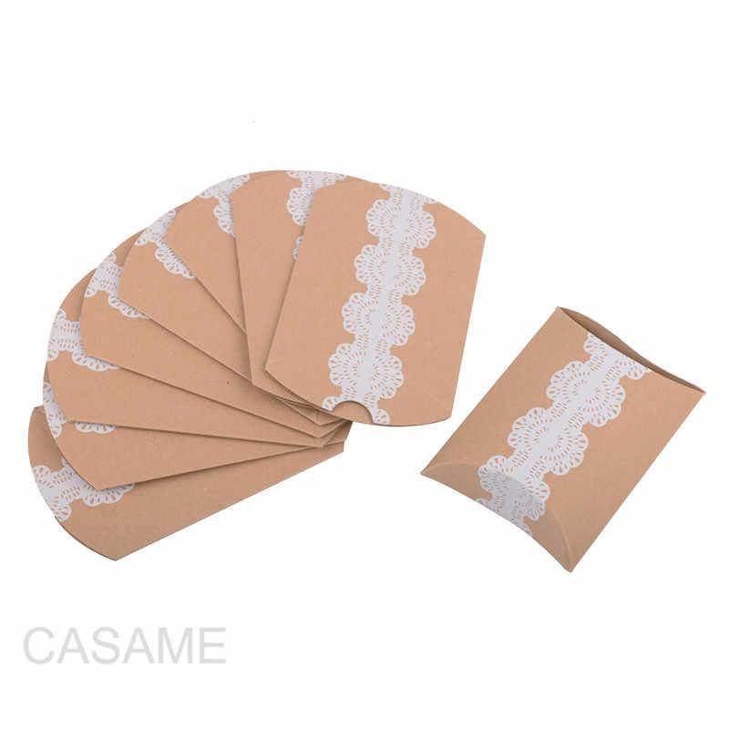 10 個好意キャンディーボックスバッグ新クラフト紙枕形状結婚式の好意ギフトボックスパイパーティーボックスバッグエコにやさしいクラフトプロモーション