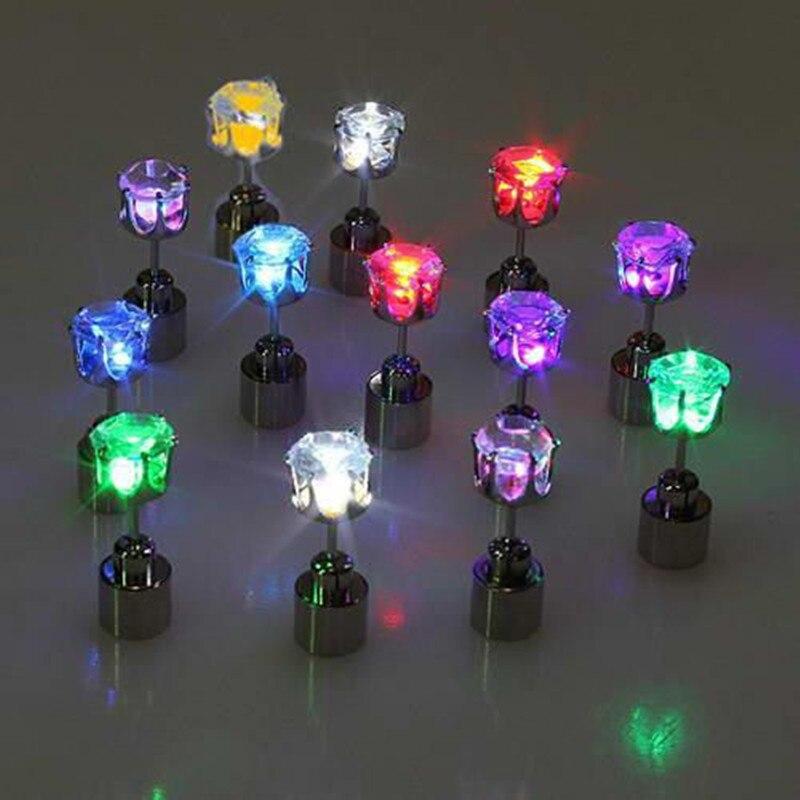 Cool Luminous LED Earrings For Women Men Zircon LED Stud Earrings Bling Shiny Earring Party Fashion Jewelry Lover Friend Gift