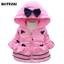 2017 New Minnie Baby Girls Jacket Kids Winter Cartoon Lovely Keeping Warm Coat Children Cotton Fashion Hooded Thick Outerwear