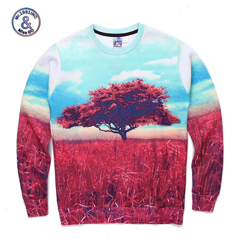 2017 Mr.1991INC&Miss.GO Up To Date Men/Women Harajuku Style 3D Printing Red Maple Sky Printing Sweatshirt Hoodies Coat Apparel S