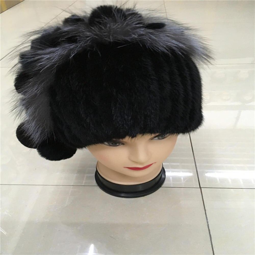 2016 novas mulheres reais rex inverno chapéu de pele de vison com uma de  prata pele de raposa e coelho tricô de lã forrado com 03D c8f442fb8e8