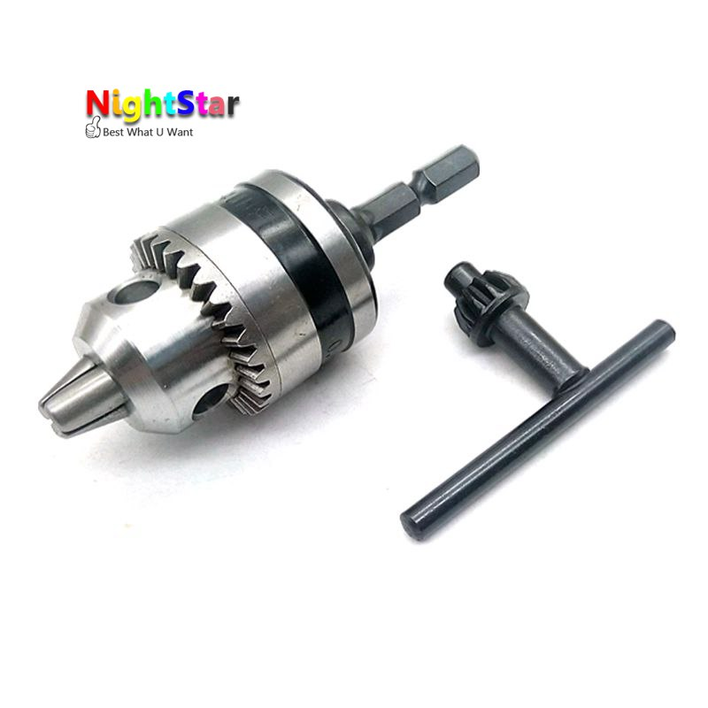 3/8 Power Drill Chuck Conversion Kit Durable 1/4 Hex Adapter 0.6-6.5mm For Electric Drills Power Tools Accessories w/ key