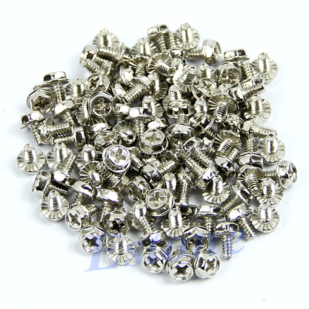 100pcs Toothed Hex 6/32 Computer PC Case Hard Drive Motherboard Mounting Screws #S018Y# High Quality 10x 6 5mm brass standoff 6 32 m3 pc case motherboard riser screws washers