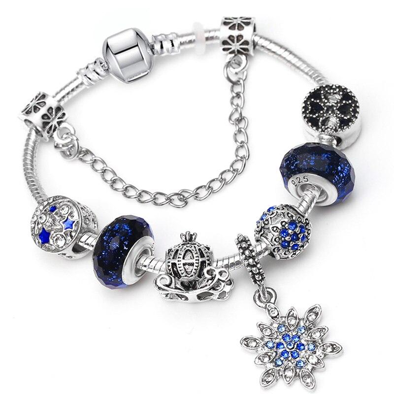 BAOPON Прямая поставка винтажные Подвески серебряного цвета браслеты для женщин DIY Кристальные бусины изящные браслеты для женщин Pulseira ювелирные изделия - Окраска металла: Type 23
