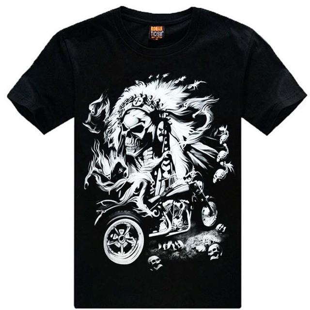Envío gratis M-XXXL Nueva Moda Camiseta de Algodón Marca hombres 3d Camiseta gracias Cráneo de Los Animales Causul Camisetas Camisetas Masculinas
