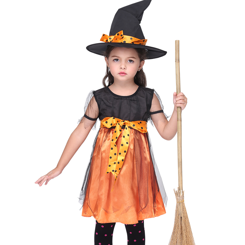 Girls Clothing Halloween Witch Costume For Girls Role Play Cosplay Performance Dance Show Costumes Children Party