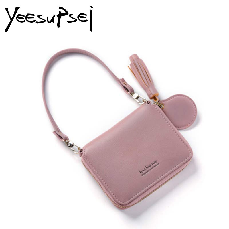 YeeSupSei Women Tassel Straps Wallet Female Zipper Short Portable Purse Women Coin Bag Multi-function Small Exquisite Wallet