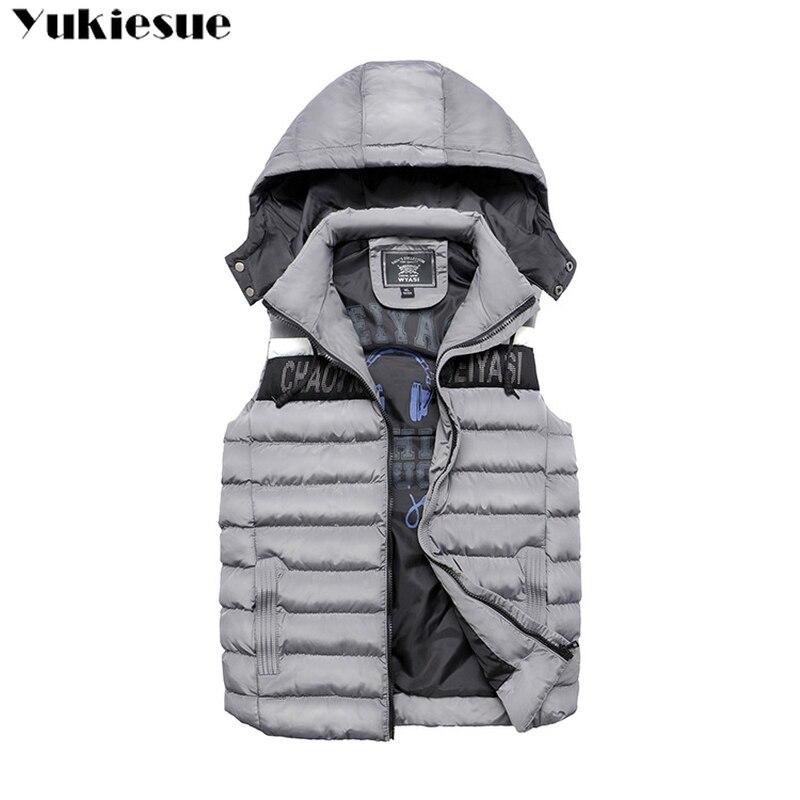 2018 Beiläufige Weste Männer Winter Ärmellose Jacken Männlichen Neue Mode Mit Kapuze Weste Männer Herbst Westen Warm Outwear Plus Größe