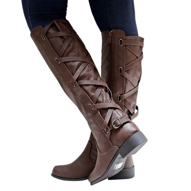 90082252484 US $11.34 16% OFF|ankle boots for Women Women Ladies Shoes Buckle Roman  Riding Knee High Cowboy Boots Martin Long Boots#NFA-in Ankle Boots from  Shoes ...