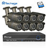 Techage 8CH 1080P CCTV System POE NVR Kit 2 8mm 12mm Zoom Varifocal Lens Metal Case