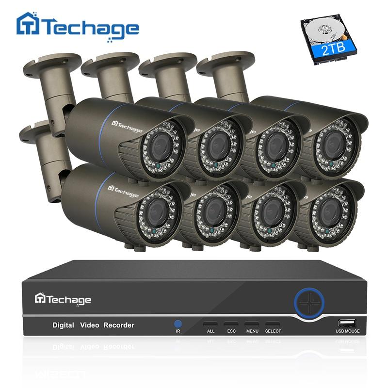 Techage 8CH 1080P CCTV System POE NVR Kit 2 8mm 12mm Zoom Varifocal Lens Metal Case