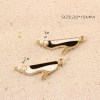 Fashion Jewelry Charms Women High Heel Shoes Alloy Charm Pendant With Pearls Decor DIY Ornament Accessories