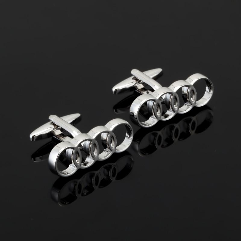 French Silver 4 circle Cufflinks Cuff Nails Brand Fashion Novelty High quality Cufflinks Wedding car log Shirt Cufflink JEWELRY