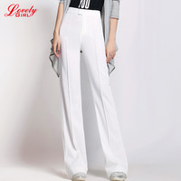 Spring 2017 New High Waist Women Flare Pants Women Korean Style Loose Work Wear White And