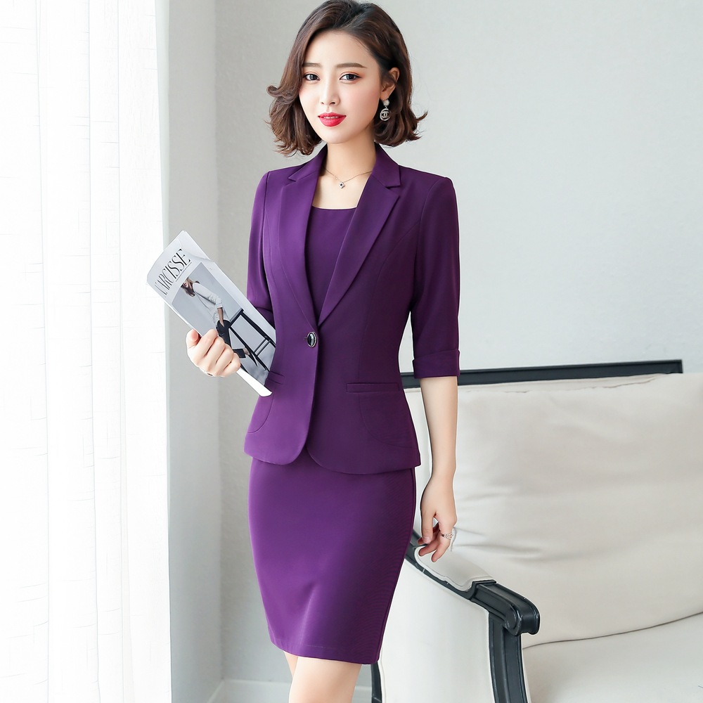Women Suits Dress Suits 3/4 Sleeve Slim Blazer+Sleeveless Dress  1