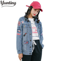 Autumn Loose Icons Female Jackets Women Patch Denim Jacket For Girls Female Cardigan Straight Long Outerwear