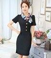 Novidade preto vestidos de senhoras formais uniformes OL estilos para mulheres de negócio trabalho desgaste profissional Vestido Casual Tops Vestido