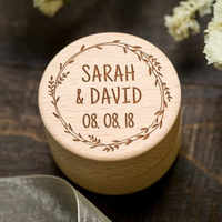 Custom Wooden Ring Bearer Box Personalized Wedding Ring Holder Box Rustic Wedding Decor Mariage Gifts Marriage Supplies