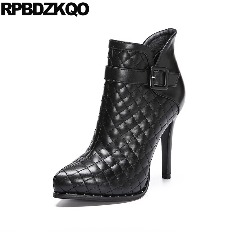 Stud Pointed Toe Thin Zipper Sexy Shoes Booties Winter Stiletto Rivet High Heel Black Ladies Women Boots 2017 Pointy Ankle women faux suede side zipper sexy thin high heel thigh boots fashion pointed toe winter shoes black g