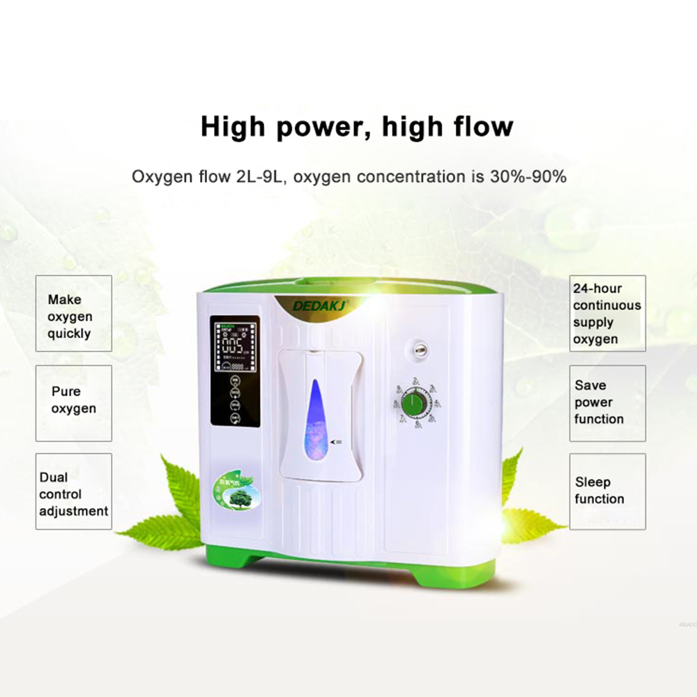 DEDAKJ DDT-2A Portable Oxygen Concentrator Generator Oxygen Making Machine Home Adjustable Air Purifier High Purity AC 220V/110V