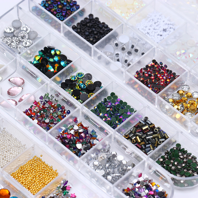 1 Box 3D Rhinestone Colorful Gold Beads Sequins Shiny Pearl Floral Manicure Nail Art Decoration For DIY UV Gel Polish