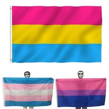 90x150cm Lesbian Gay Pride Parade Banner LGBT Rainbow Colorful Striped Transgender Flags Party Decoration With Brass Grommets