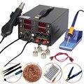 YIHUA 853D 3 в 1 SMD фена паяльник 30 в 5A DC источник питания паяльная станция 110 В/220 В