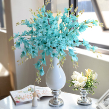 Real Touch Cymbidium 6 Heads High Party Supplies Flower DIY Wedding Bride Hand Flowers Home Decoration Artificial Slik Orchid