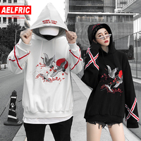 AELFRIC Animal Embroidery Pullover Hoodie Japan Style Fleece Winter Thick Harajuku Streetwear Hip Hop Hoodies Sweatshirts QA32