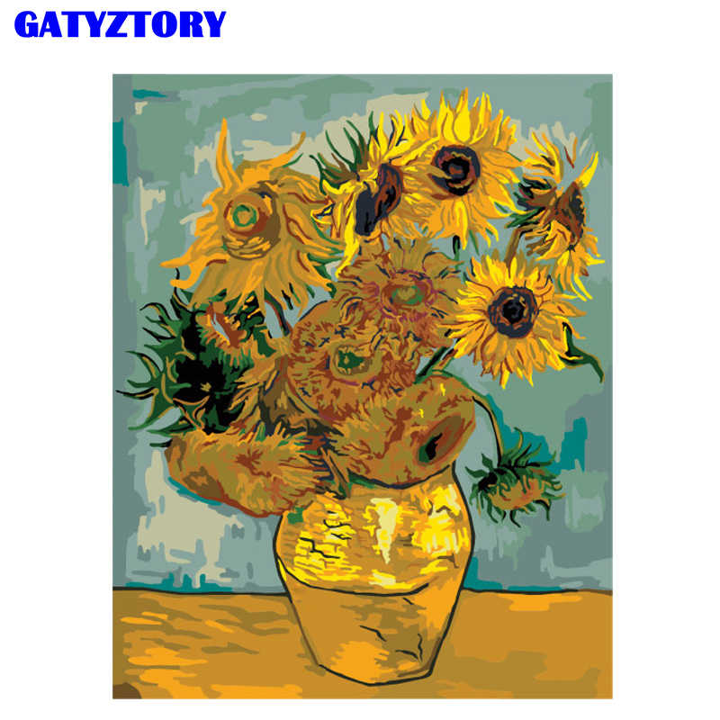 GATYZTORY Frameless Van Gogh Sunflower DIY Painting By Numbers Wall Painting Acrylic Paint On Canvas Calligraphy For Living Room