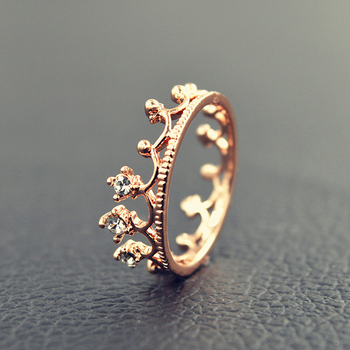 Princess Crown Ring Trendy Jewelry Gold Wedding Engagement Ring For Women 4