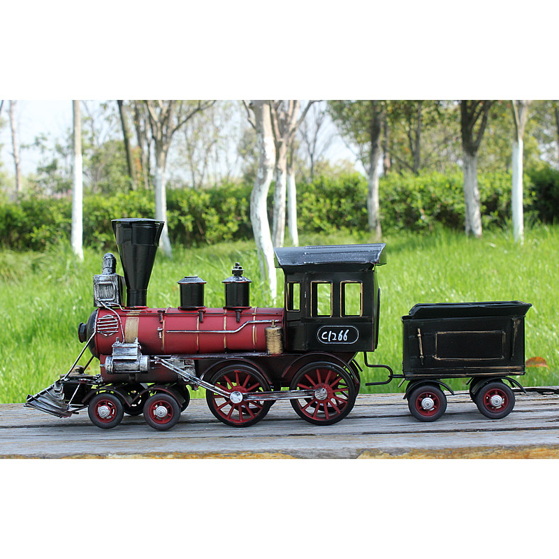 Fait main Locomotive À Vapeur Train Modèle Créatif Vintage Métal Artisanat Ornements Décoration De La Maison Artisanat Miniature Enfants Jouet De Noël