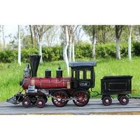 High Simulation Handmade Steam Locomotive Train Model Creative Vintage Metal Craft Birthday Gift Toy Home Deco