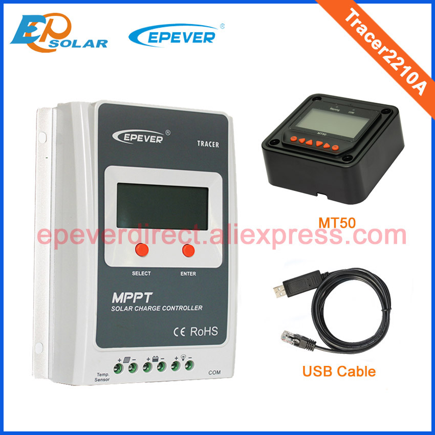 MPPT 20A solar controller Tracer2210A with MT50 remote meter and USB portable solar power meter for solar research and solar radiation measurement sm206